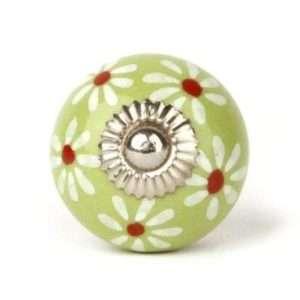 Πόμολο κεραμικό πράσινο-μαργαρίτα hand painted (4cm-6cm-4mm)