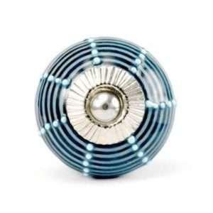 Πόμολο κεραμικό μπλε με γαλάζιο ριγε (4cm-6cm-4mm)