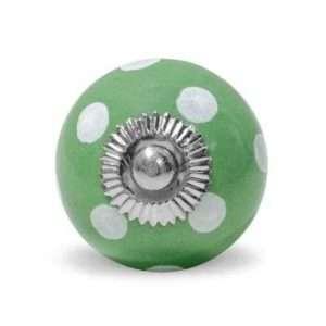 Πόμολο κεραμικό πράσινο με λευκό πουα (4cm-6cm-4mm)