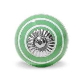 Πόμολο κεραμικό πράσινο λευκό ριγέ (4cm-6cm-4mm)