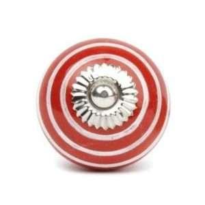 Πόμολο κεραμικό κόκκινο με λευκό ριγέ (4cm-6cm-4mm)