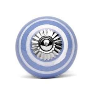 Πόμολο κεραμικό γαλάζιο-μωβ με λευκό ριγέ (3cm-6cm-4mm)