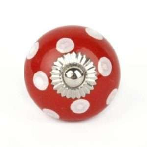 Πόμολο κεραμικό κόκκινο με λευκό πουά (3cm-6cm-4mm)