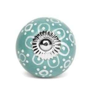 Πόμολο κεραμικό γαλάζιο hand painted (4cm-6cm-4mm)
