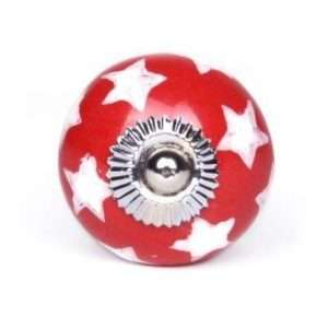 Πόμολο κεραμικό κόκκινο αστεράκια (3,5cm-6cm-4mm)